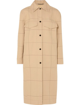 Keiko Checked Cotton And Linen Blend Canvas Trench Coat by By Malene Birger