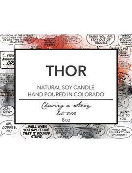 Thor // 8oz Soy Candle   Bookish Candles   Movie Candle   Book Lover Gifts   Avengers   Norse Mythology   God Of Thunder   Handmade   Gift by Etsy