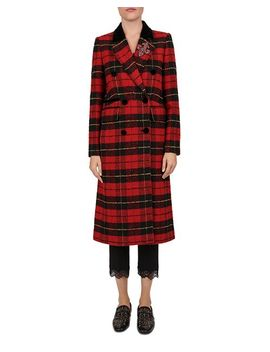 Embellished Fleur De Lis Plaid Coat by The Kooples