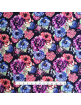 Knit Prints Double Brushed Poly Fabric Navy Pink Purple Shana Floral                      Knit Prints Double Brushed Poly Fabric Navy Pink Purple Shana Floral by Joann