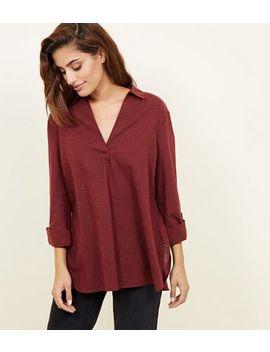 Burgundy V Neck Overhead Shirt by New Look
