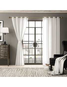 August Grove Kolambe Flax Linen Solid Semi Sheer Grommet Single Curtain Panel & Reviews by August Grove