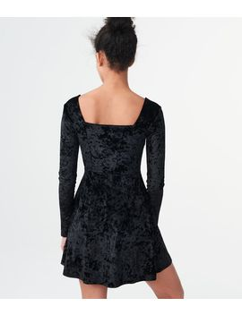 Solid V Wire Velvet Fit &Amp; Flare Dress by Aeropostale