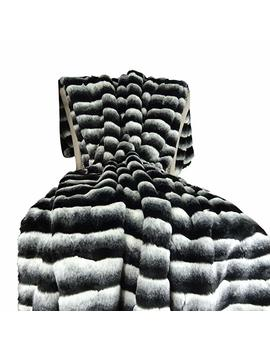 Thomas Collection Black White Chinchilla Faux Fur Throw Blanket & Bedspread   Black Chinchilla Fur   Black White Chinchilla Throw Blanket   Fur Blanket, Handmade In Usa, 16432 by Thomas Collection