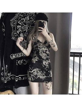 Harajuku Gothic Sexy Dragon Print Dresses Women Autumn Slim Bodycon Spaghetti Strap Mini Dress Ladies Party Club Dress Vestidos by Lunoakvo