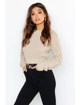 Bobble Sleeve Crop Jumper by Boohoo