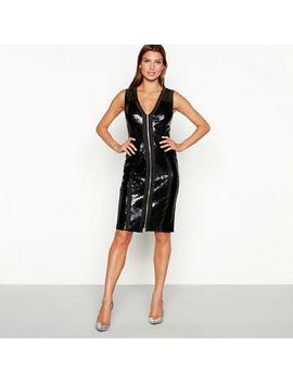Star By Julien Macdonald   Black Sequinned Mesh Zip Front Sleeveless Knee Length Bodycon Dress by Star By Julien Macdonald