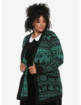 Harry Potter Slytherin Fair Isle Girls Flyaway Cardigan Plus Size by Hot Topic