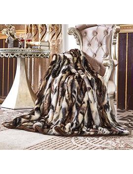 "Lindsey Home Fashion Faux Fur Throw, Fur Blankets Super Soft Japanese Kanekalon Fiber, Sheepskin, Mink, Wolf, Bear, 60""X80"", 60""X70"", 50""X60"" 14 Colors (60x70(Inch), Lemur Faux Fur) by Lindsey Home Fashion"
