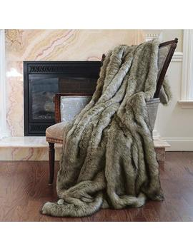 "Best Home Fashion Faux Fur Throw   Full Blanket   Coyote   58""W X 84""L   (1 Throw) by Best Home Fashion"