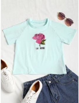 Rose Embroidered Crop Raglan Tee   Light Green S by Zaful