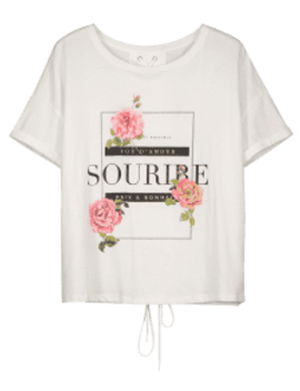 Cuffed Lace Up Graphic Tee   White S by Zaful