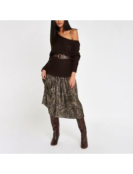 Khaki Snake Print Pleated Midi Skirt by River Island