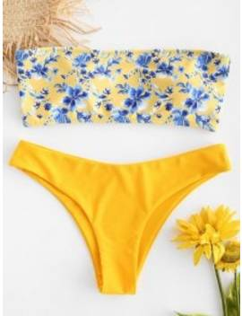 Floral Strapless Bikini Set   Bright Yellow S by Zaful