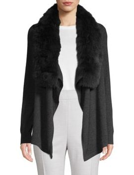 Fox Fur Collar Cashmere Cascade Cardigan by Cashmere Saks Fifth Avenue