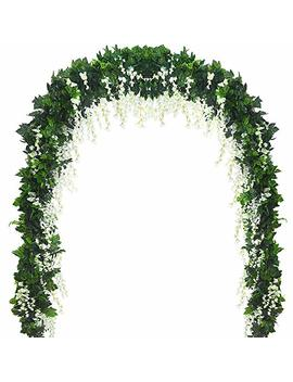 5 Strands 32.8 Ft Artificial Silk Wisteria Vine Ratta Ivy Garland Wisteria Artificial Flowers Hanging Plants Vines Faux Greenery Fake Green Leaf Garland For Wedding Kitchen Home Party Decor (White) by Antspirit