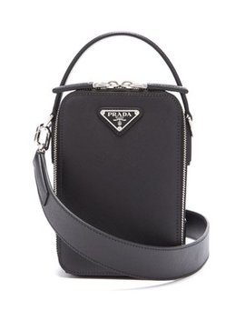 Brique Leather Cross Body Bag by Prada