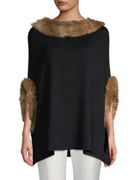 Classic Rabbit Fur Trimmed Poncho by Stella + Lorenzo