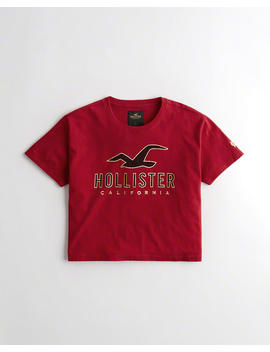 Crop Metallic Graphic Tee by Hollister