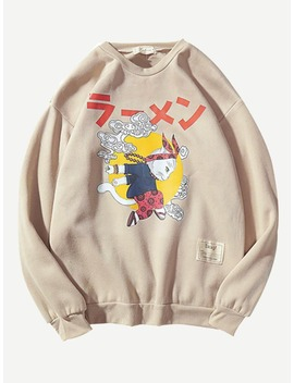 Guys Drop Shoulder Cartoon Print Sweatshirt by Romwe