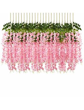 Pauwer 24 Pack 3.6 Feet/Piece Artificial Wisteria Vine Ratta Fake Wisteria Hanging Garland Silk Long Hanging Bush Flowers String Home Party Wedding Decor (Pink) by Pauwer