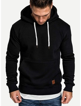 Guys Patched &Amp; Drawstring Detail Hoodie by Romwe