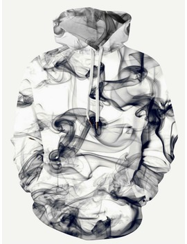 Guys 3 D Abstract Smoke Print Hooded Sweatshirt by Romwe