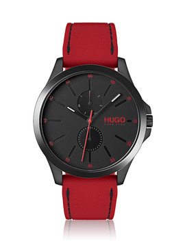 Black Plated Wristwatch With Red Strap by Boss