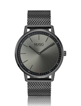 Unisex Watch In Grey Plated Stainless Steel With Mesh Bracelet by Boss