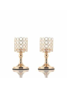 Vincigant Gold Cylinder Crystal Tea Light Candle Holders For Wedding Coffee Table Decorative Centerpieces/Modern House Decor Gifts For Anniversary Celebration by Vincigant