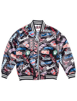 Men's Nba All Over Collection Satin Jacket by Mitchell & Ness