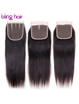 "Bling Hair Peruvian Straight Human Hair Closure Free/Middle/Three Part 4*4 Swiss Lace 8"" 22"" Top Closure Hand Tied Natural Color by Bling Hair"