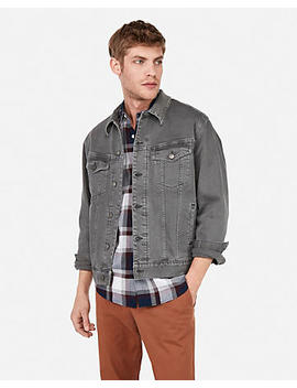 Gray Stretch Denim Trucker Jacket by Express