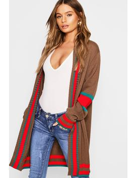 Contrast Stripe Oversized Cardigan by Boohoo