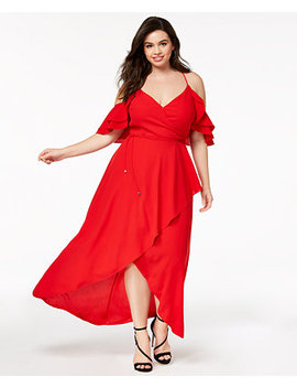 Trendy Plus Size Cold Shoulder Maxi Dress by City Chic