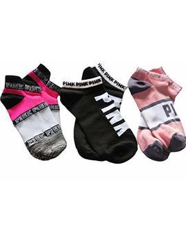 Victoria Secret Pink No Show Socks Set Of 3 Pink White Black by Pink.By.Victoria Secret