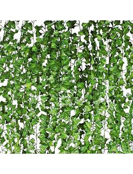 Cqure Ivy Garland,Fake Ivy Vine Foliage Silk Garland Hanging Greenery For Wedding Party Garden Wall Decoration 12 Pack 84 Ft by Cqure
