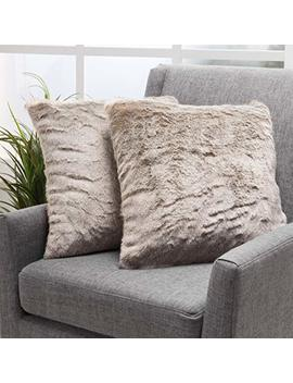 Ellison Light Brown Decorative Faux Fur Fabric Throw Pillow (Set Of 2) | Ideal For The Living Room Or Bedroom | Plush Texture by Gdf Studio