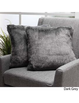 Ellison Dark Grey Decorative Faux Fur Fabric Throw Pillow (Set Of 2) | Ideal For The Living Room Or Bedroom | Plush Texture by Gdf Studio