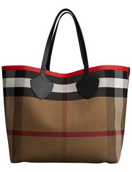 The Giant Reversible Tote In Canvas Check And Leather by Burberry