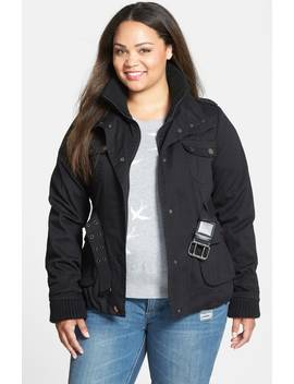 Rib Trim Belted Utility Jacket by City Chic