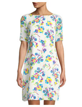 Floral Print Sheer Sleeve Shift Dress by Karl Lagerfeld Paris