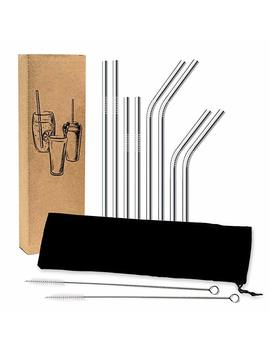 Fda Approved Stainless Steel Straw Set   8 Reusable Drinking Straws   2 Cleaning Brushes And Bonus Pouch   Rounded Safety Edges   No Plastic Packaging   Fits 20 Oz And 30 Oz Tumblers by Amazon