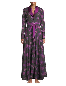 Dahlias Floral Print Long Robe by Neiman Marcus