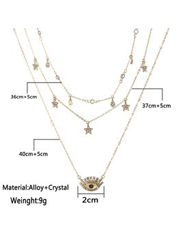 Bls Miracle Multilayer Necklace For Women Long Chain Turkish Eye Pendant Necklaces Trendy Crystal Star Water Droplets Necklaces  by Bls Miracle
