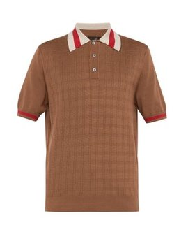 Grid Knit Silk Blend Polo Shirt by Dunhill