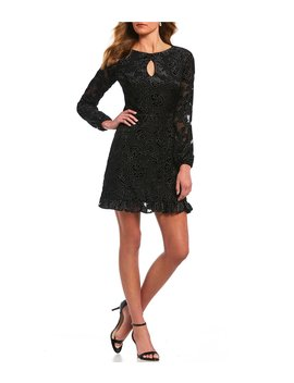 Social Long Sleeve Floral Print Velvet Dress by Gb