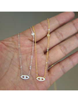 2017 Sparking Dainty Thin Chain Fine Silver 925 Jewelry Cute Tiny Evil Eye Bezel Cz Connector Women Charm Necklace by Atjmlady