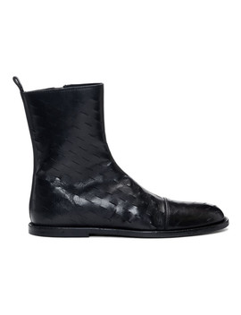 Black Slits Zip Up Boots by Ann Demeulemeester