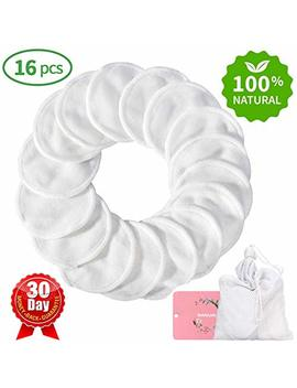 Reusable Makeup Remover Pads 16 Packs, Washable Organic Bamboo Cotton Rounds, Toner Pads, Facial Soft Cleansing Wipes With Laundry Bag by Topoint